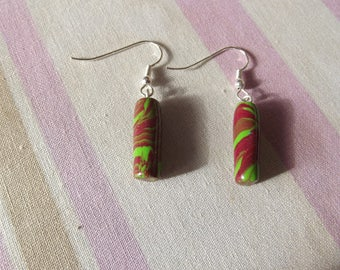Marbled green and rust colored earrings
