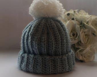 Handmade Crochet Chunky Baby Beanie.