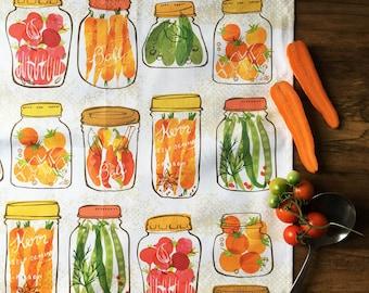Pickled Vegetables in Jars Tea Towel - Canning - Vintage Inspired - Home garden - Kitchen Gift - Farm Fresh - Ohn Mar Win - Autumn Harvest
