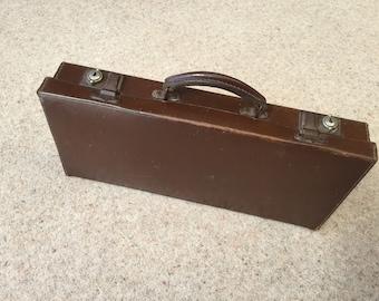 Vintage genuine leather small attache case.