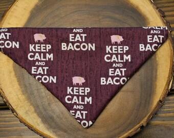 Keep calm and eat bacon dog bandana!
