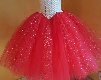 Red tutu dress glitter 4-6 years