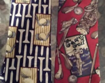 Vintage Golf Ties Hathaway and We R Ties USA - 2 Total 1990s D421