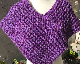 Handmade Knitted Poncho - Item #5006