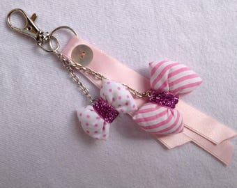 DOOR keys jewelry bag with knots, chains and ribbons, pink striped polka dots