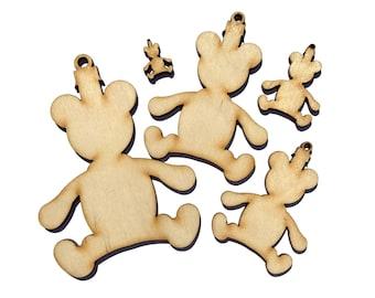 Wooden Christmas Bear Plywood Scrapbooking Embellishment Wedding Decor Gift