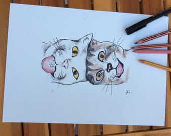 Crazy cats - Reproduction of an original drawing. Crazy Cats