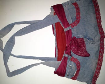 Red lace fully lined cotton denim bag.