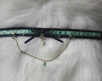 Blue Gem Chain Kitten Play Collar Choker