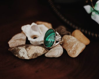 Faux malachite statement ring from Mideast: boho gypsy bohemian