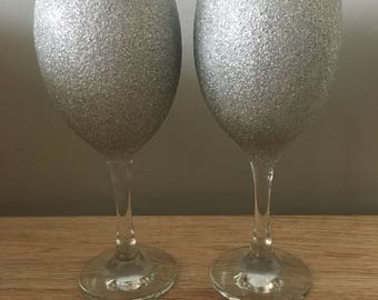 Pair of silver glitter glasses