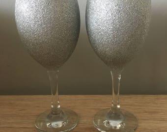 Pair of silver glitter glasses