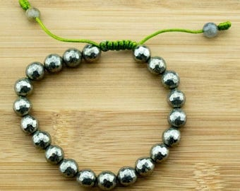 Faceted Pyrite Yoga Bead Bracelet with Labradorite | 8mm | Yoga Jewelry | Meditation Bracelet | Buddhist Mala Bracelet | Free Shipping