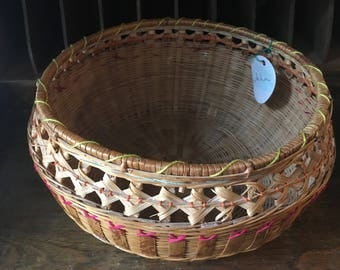 Hand embroidered vintage basket