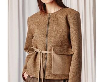 Short wool coat Lara, neoprene