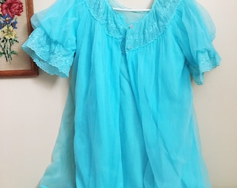 Vintage Baby Blue Nightgown & Coat