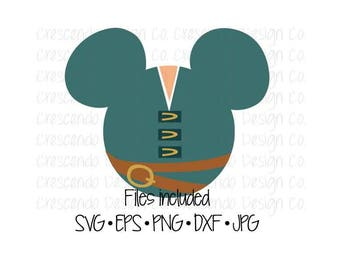 Disney Tangled Flynn Rider Mickey Head SVG, Eps, Pdf, Png for Cricut Iron-On Decal Cutting File/Clip Art