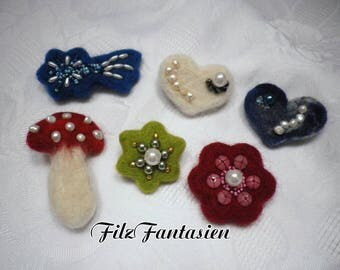 Brooch brooch with pearls embroidered felt brooch Pearl brooch brooch pin brooch pin
