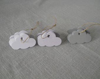 Cloud 3x5cm tags, cardstock and punched