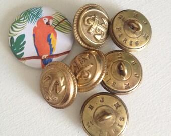 """Anchor Navy"" antique metal buttons"