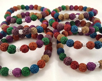 Great colorful lava bracelets with 925 silver element-ideal for a Christmas gift