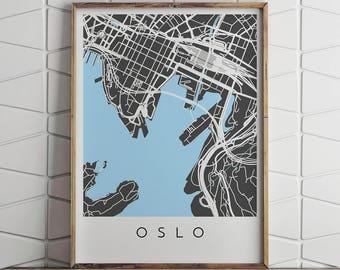 Oslo Map Print, Oslo Print, Oslo Map, Oslo Poster, Oslo Art, Modern Map Print, Map of Oslo, Oslo City Map, City Map Print