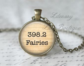 Fairies '398.2' Dewey Decimal, Library Books, Reading Necklace or Keyring, Keychain.