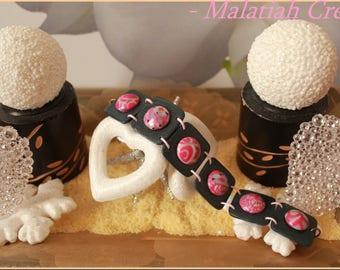 Bracelet multi-texture Fimo rose-grey color