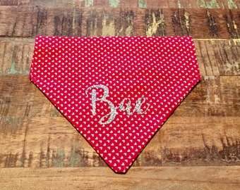 "Red Hearts Valentine's Day Dog ""Bae""/Cat Collar Bandana"
