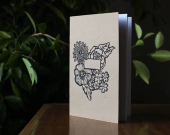 Hand-printed floral pattern notebook