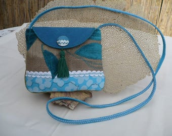 Small shoulder bag in fabric and leather