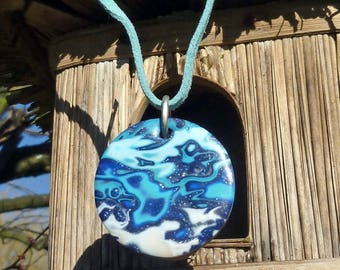 Mimis - lagoon polymer clay pendant