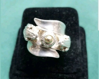 Barry Kieselstein cord Sterling/14kt yellow gold ring Size 6.5