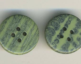 Two vintage green and black graphic pattern large vintage buttons buttons.