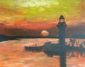 Painting on canvas Lighthouse At Sunset