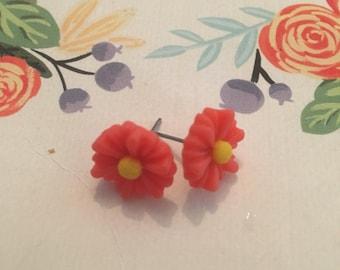 Orange daisy earrings