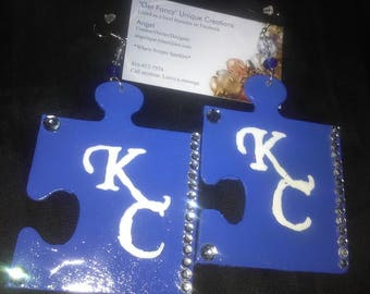 Hand painted wood puzzle piece KC earrings blue n clear swarovski crystals.