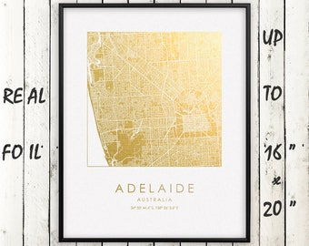 """Adelaide City 16""""x20"""" Map Gold Print, Real Gold Foil Print, Adelaide Square City Map Poster, Adelaide Gift, Australia, GoldenGraphy"""