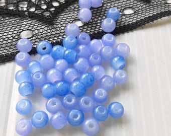 Blue, handcrafted, round glass beads, 4 mm set of 8 beads (PCRT3)