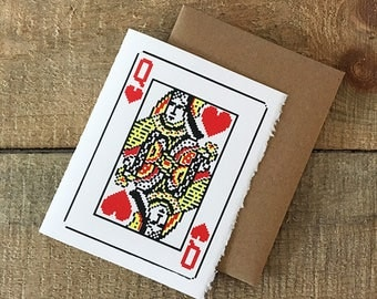 screen printed pixelated queen of hearts card face greeting card