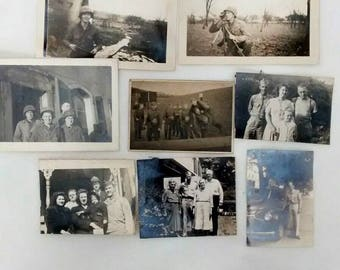 Vintage WWII Era Military Soldier Snapshot Photos Lot,  c. 1940s