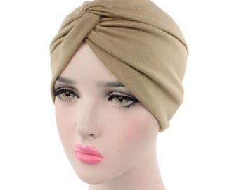 Beige turban Hijab beanie chemo hat
