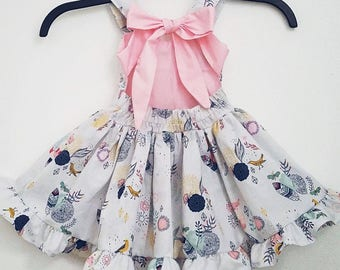 toddler dress baby dress first birthday outfit birds dress bow dress twirly dress