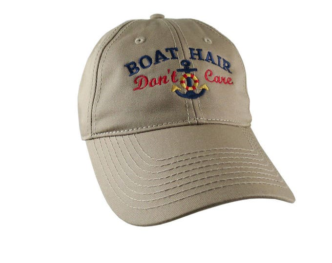 Nautical Anchor Boat Hair Don't Care Embroidery on an Adjustable Khaki Beige Unstructured Baseball Cap with Option to Personalize the Back