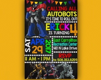 Transformers Birthday Invitation, Transformers Invitations, Transformers Birthday, Transformers Party, Bumble Bee Birthday Invitations,Robot