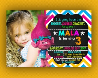 Trolls Birthday Invitation, Trolls Birthday Invitation With Photo, Trolls Birthday, Trolls Birthday Party, Trolls Birthday Invite, Trolls