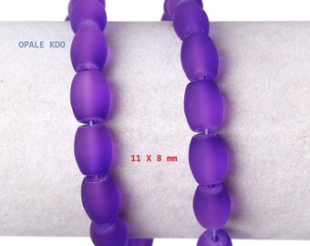 Set of 10 purple frosted glass beads 11 x 8 mm