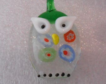 OWL pendant with Millefiori glass Lampwork 38 x 20 mm Green