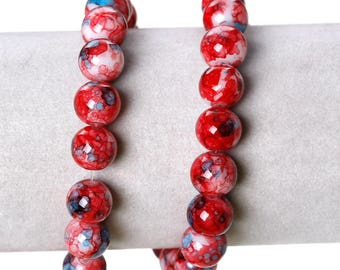 Set of 10 Red 10 mm round glass beads