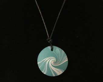 Handmade pendant turquoise & white polymer clay necklace